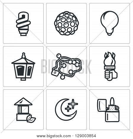 Light Bulb, Equipment, Lantern, Christmas lighting, Hand with a torch, Crescent, Cigar-lighter