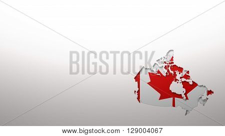 Canada map with flag style wallpaper background 3d cut out effect