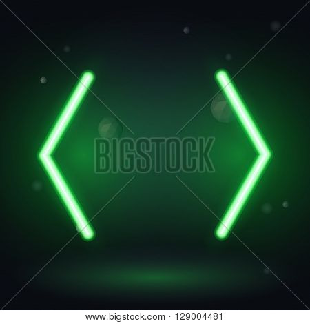 Vintage neon electro direction. two green neon arrows on a black background