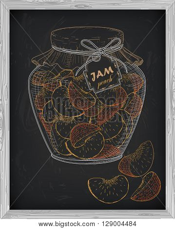 Beautiful Jar Of Homemade Jam With Peach On A Black Background