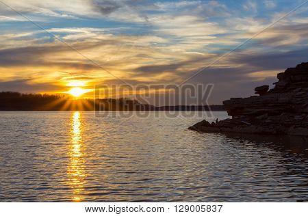 Sunset at Barren River Lake in Kentucky.