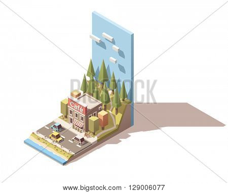 Simple isometric road cafe building
