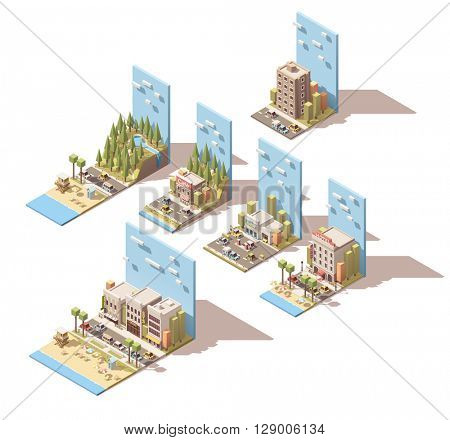 Set of the isometric car travel related landscape