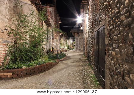 View form the inside of the Medieval village of Ricetto di Candelo in Piedmont used as a refuge in times of attack during the Middle Age. ** Note: Soft Focus at 100%, best at smaller sizes