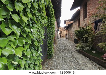 Candelo Biella - May 4 2016: View form the inside of the Medieval village of Ricetto di Candelo in Piedmont used as a refuge in times of attack during the Middle Age.