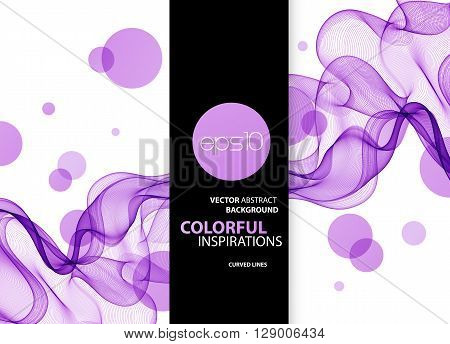 Abstract vector background, blue and purple transparent waved lines for brochure, website, flyer design.  Blue smoke wave. Blue and purple wavy background