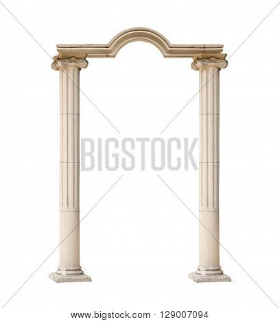 classical architectural arch isolated on white background.