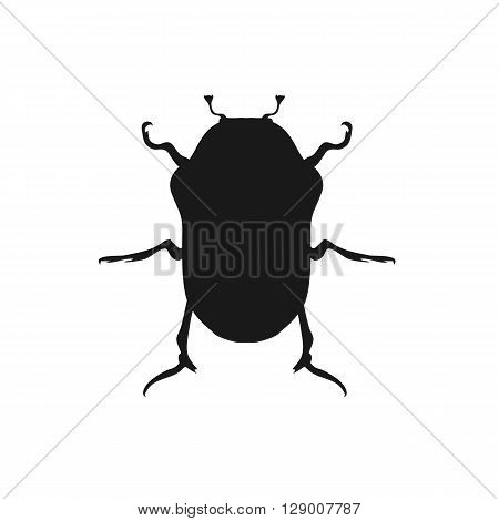 Protaetia may bug insect design flat. Small insect chafer with black legs and antennae and black wings folding in the shell. Wildlife creating isolation on white background. Vector illustration