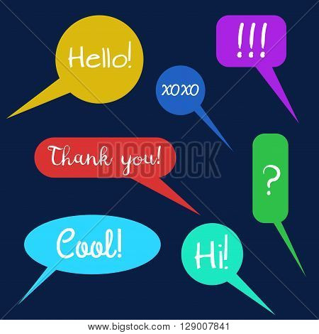 Vector set of speech bubbles group of doodle speech buble