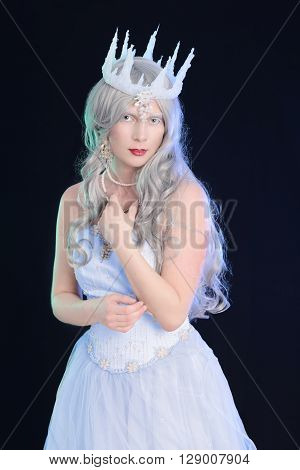 portrait of ice queen with black background