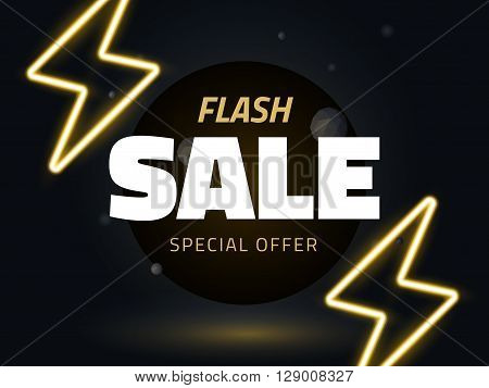 Vector flash sale design with thunder vector illustration. background with neon lightning for business design retro style