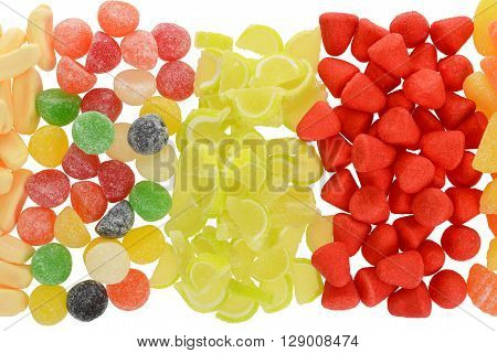 top view sugar coated assorted candy making a background
