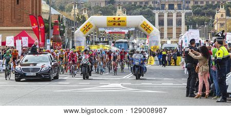 Barcelona Spain - March 27 2016: The peloton at the start of the last stage of Volta Ciclista a Catalunya 2016 in Montjuic Bracelona Spain on March 27 2016.