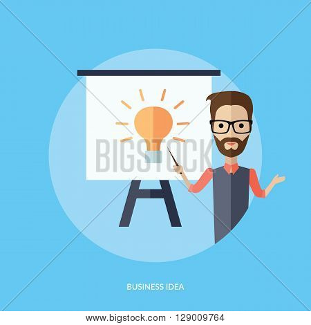 Businessman presentation business idea. Young adult man with glasses and beard shows pointer on the whiteboard with the image of a new idea in the form of a light bulb drawing. Vector illustration