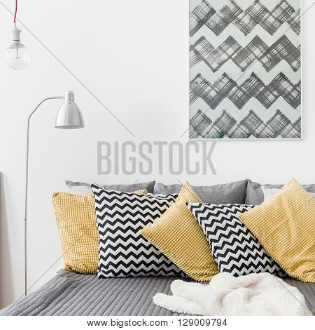 Various Cushions In Cozy Bedroom