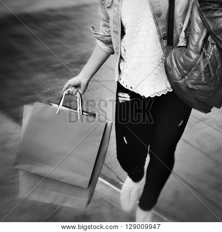 Woman Shopping Outdoor Shopaholic Concept
