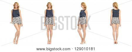 Full Length Portrait Of Beautiful Woman In Sexy Shorts