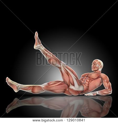 3D render of a medical figure bodybuilder with muscle map in a leg raise pose