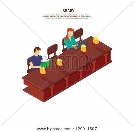 People read for the library table. Students man and woman sitting in the library at table with lamps. The guy is reading a book, she works on laptop isolated white background. Vector illustration