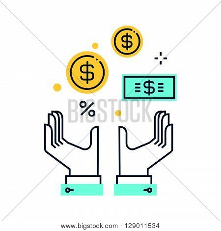 Wealth salary concept illustration icon background and graphics. The illustration is colorful flat vector pixel perfect suitable for web and print. It is linear stokes and fills.