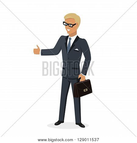 Businesman show gesture thumb up. Young successful man in glasses do business hand gesture shows good job isolated on white background. Approval of the praise and agreement. Vector illustration