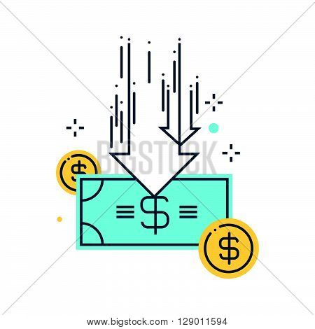 Budget cuts concept illustration icon background and graphics. The illustration is colorful flat vector pixel perfect suitable for web and print. It is linear stokes and fills.