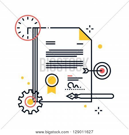 Legal Documents concept illustration icon background and graphics. The illustration is colorful flat vector pixel perfect suitable for web and print. It is linear stokes and fills.