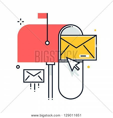Mail box concept illustration icon background and graphics. The illustration is colorful flat vector pixel perfect suitable for web and print. It is linear stokes and fills.