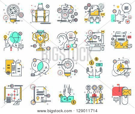 Project development concept illustrations icons backgrounds and graphics. The illustration is colorful flat vector pixel perfect suitable for web and print. It is linear stokes and fills.