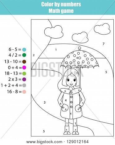 Coloring page with girl. Color by numbers math children educational game. For school years kids