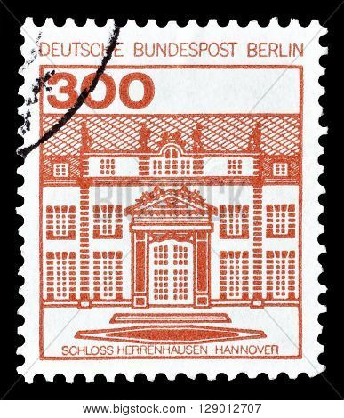 GERMANY - CIRCA 1982 : Cancelled postage stamp printed by Germany, that shows Herrenhausen Castle.