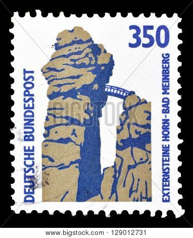 GERMANY - CIRCA 1989 : Cancelled postage stamp printed by Germany, that shows Extern rocks in Horn Bad Meinberg.