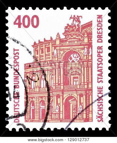 GERMANY - CIRCA 1991 : Cancelled postage stamp printed by Germany, that shows Semper Opera House in Dresden.