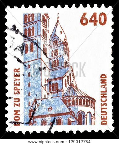 GERMANY - CIRCA 1995 : Cancelled postage stamp printed by Germany, that shows Speyer cathedral.