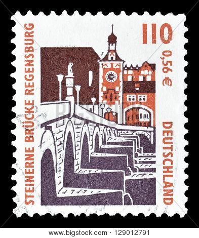 GERMANY - CIRCA 2000 : Cancelled postage stamp printed by Germany, that shows Stone bridge in Regensburg.