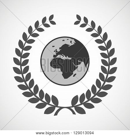 Isolated Laurel Wreath Icon With   An Asia, Africa And Europe Regions World Globe