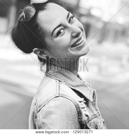 Woman Happiness Smiling Street Urban Scene City Concept