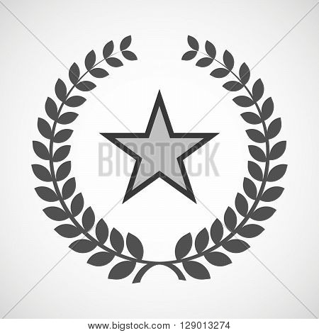 Isolated Laurel Wreath Icon With  The Red Star Of Communism Icon