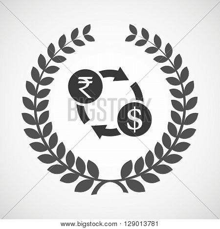 Isolated Laurel Wreath Icon With  A Rupee And Dollar Exchange Sign