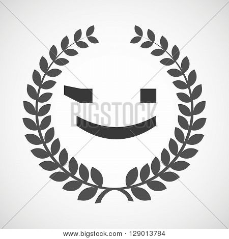 Isolated Laurel Wreath Icon With  A Wink Text Face Emoticon