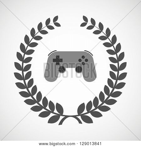 Isolated Laurel Wreath Icon With  A Game Pad