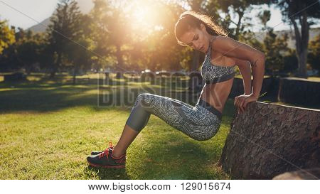Young Woman Practicing Push Ups In Nature