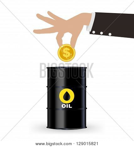 Business Hand Picking Up Gold Coin Into Oil Barrel, Investment Concept
