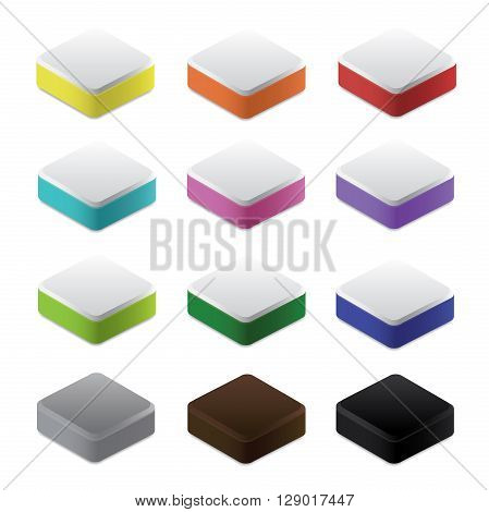 Set of colorful blocks and bases 3d vector