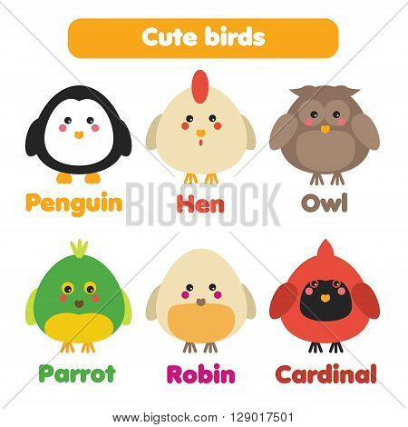 Cute birds icons set. Six birds in flat cartoon style isolated on white background. Perfect as children stickers educational illustrations design elements for kids books