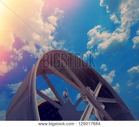 industrial detail on background of blue sky