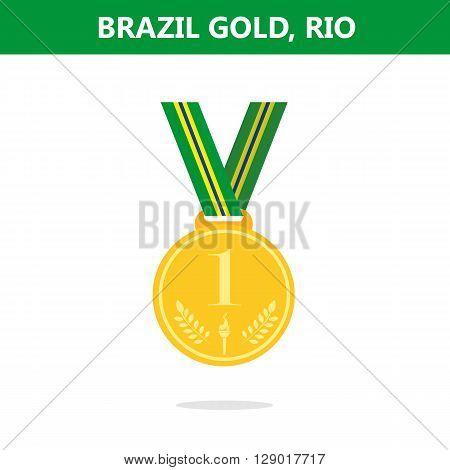 Gold medal. Brazil. Rio. games 2016. Vector illustration.