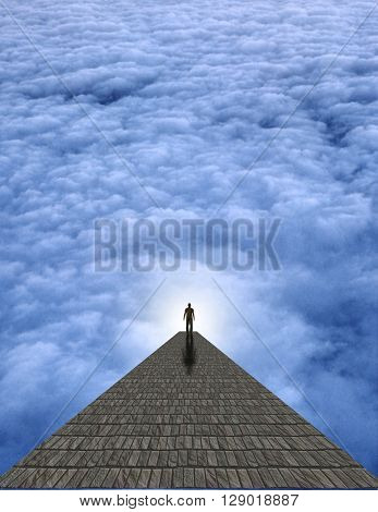 Man atop stone in clouds 3D Render