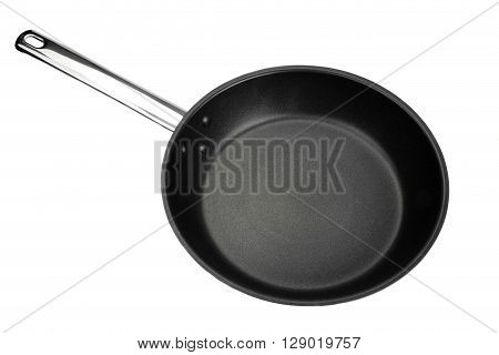 Non-stick Frypan With Shinny Handle Isolated On White, Top View