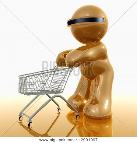 3d little icon and the shopping cart